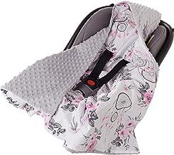 Manta Envolvente 100 % algodón, 85 x 85 cm, Doble Cara, Multifuncional, Minky Manta para Cochecito de bebé, Suave y esponjosa (atrapasueños y Flores con Menta Gris)