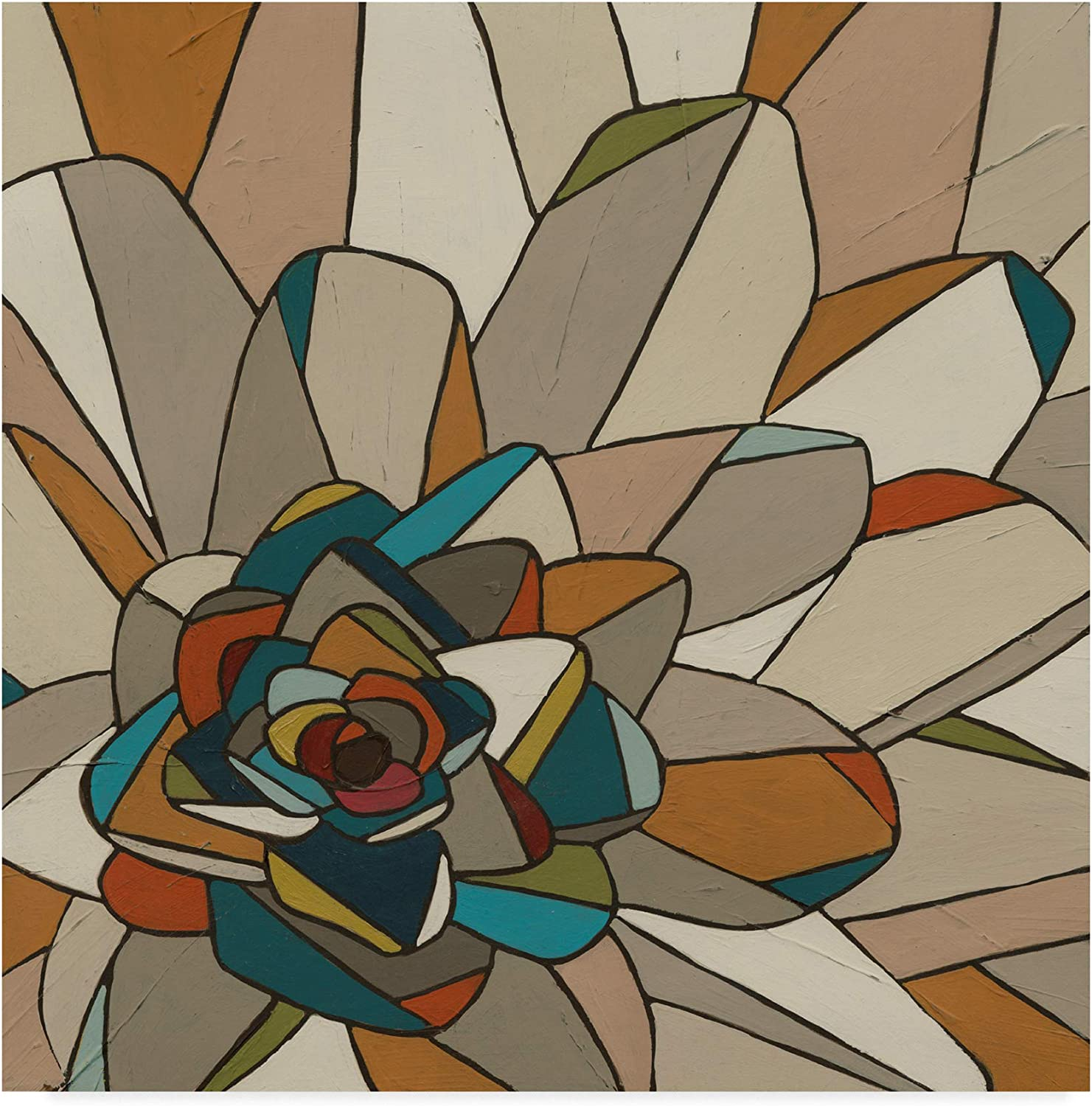 Trademark Fine Art WAG00287-C1414GG Stained Glass Floral Ii by June Erica Vess Wall Decor, Multicolor, 14x14