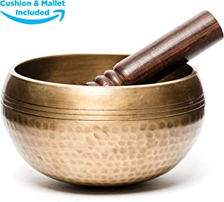 Tibetan Singing Bowl for Meditation - HandCrafted Antique Tibetan Singing Bowl Set - Great for Meditation, Healing Relaxation Therapy, Stress & Anxiety Relief, Chakra Healing (3.5 Inch) (Hammered)