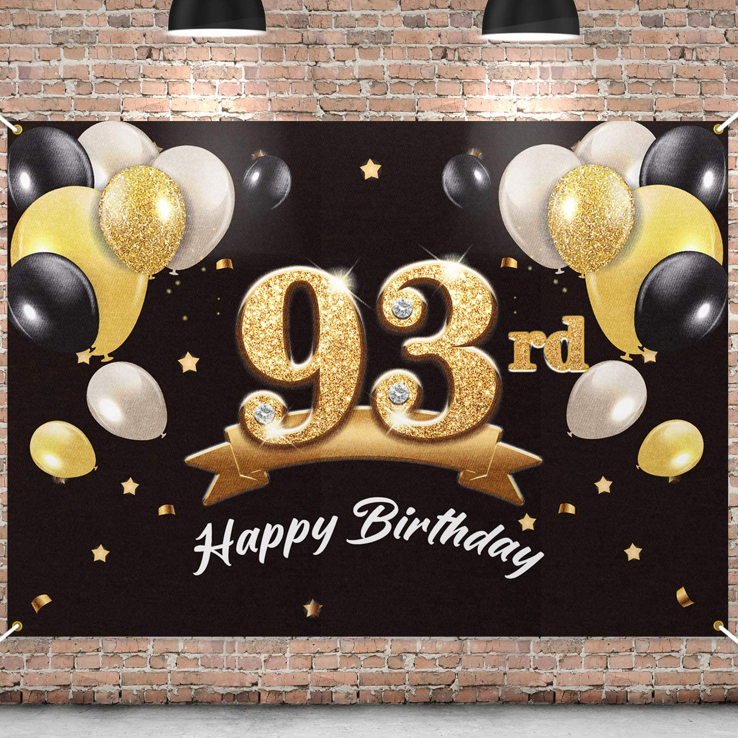 PAKBOOM New product! New type Happy 93rd Birthday Banner 93 Excellent Party - Backdrop
