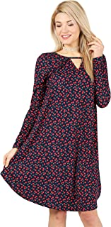 Womens V Neck Cut Printed Casual Long Sleeve Shift Dress - Made in USA