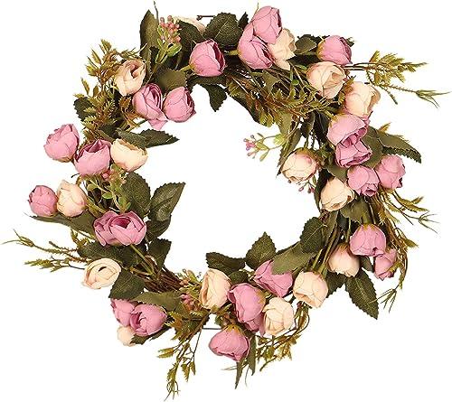 2021 12In Valentines Wreath Decoration Handmade popular Pink Rose Wreath Floral Artificial Garland Wreath Christmas Wreath 2021 Decoration Ornament for Front Door Wedding Party Decoration outlet online sale