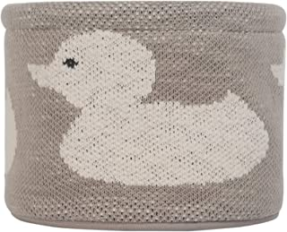 Kindsgut petit panier de rangement bébé pour table à langer, rond en tissu, beige – canard