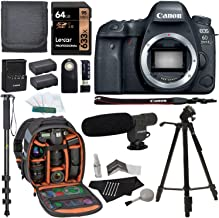 Canon EOS 6D Mark II Digital SLR Camera Body, Sandisk Ultra 64GB U3 2 Pack, Ritz Gear Camera Backpack, Tripod, Replacement Battery, Cleaning Kit, Monopod, and Accessory Bundle