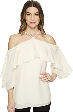 Flutter Sleeve Cold Shoulder High Neck Top