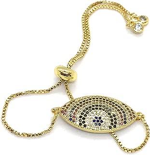 LESLIE BOULES Gold Evil Eye Bracelet for Women 18K Plated Adjustable Chain 5.5