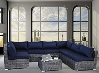 JETIME Outdoor Rattan Furniture 8pcs Patio Grey Conversation Set Garden Sofa Set Sectional Couch with Navy Cushion