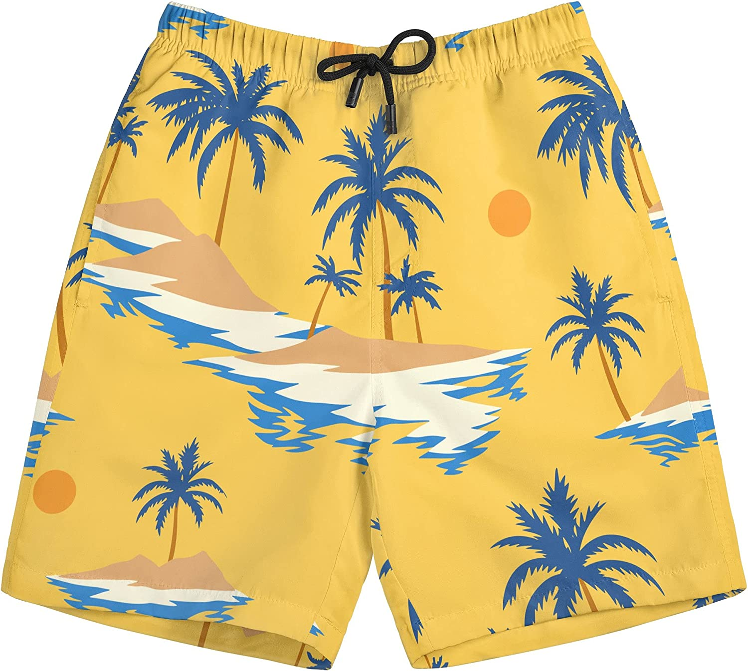 Depoga Boys Quick Dry Swim Trunks Drawsting Beach Surf Boards Shorts Swimsuits Hawaii Print with Pockets 4T-16T