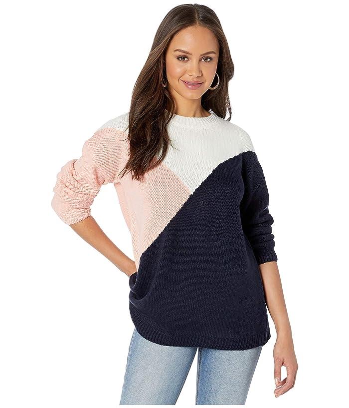 BB Dakota  Bunny Slope Color Block Crew Neck Sweater (Oilslick) Womens Sweater