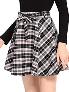 Milumia Women A line Pleated Skater Skirts Cheerleader High Waist Plaid Flared