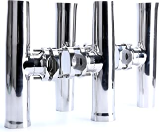 Amarine Made 4 PCS Stainless Tournament Style Clamp on Fishing Rod Holder for Rails 1-1/4