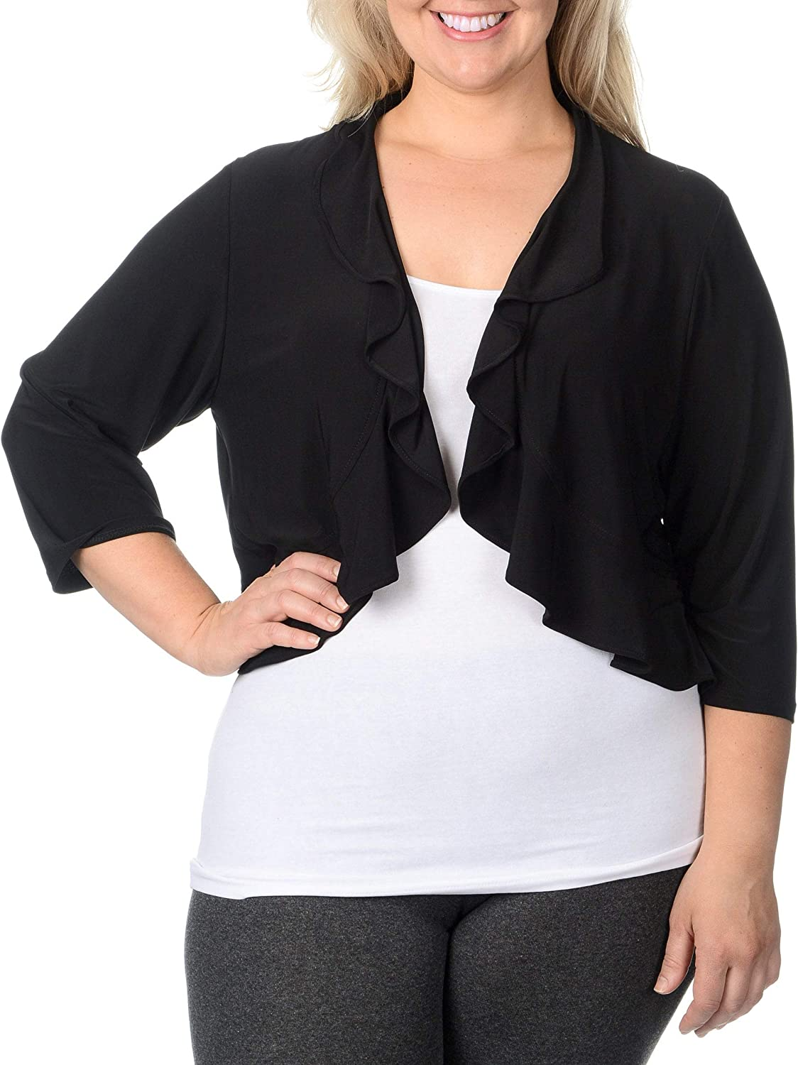 R&M Richards Women's 1 Piece Plus Size Stretch Cover Up with A Ruffle