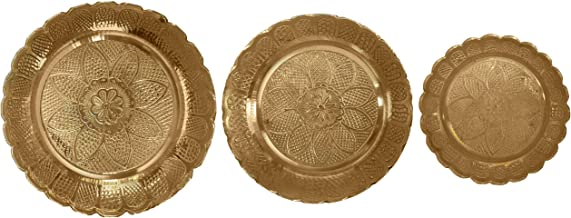 diollo Nakshi Plate Handmade Brass Indian Puja Plate Worship Spiritual Gifts Pack of 3