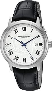 Men's 'Maestro' Swiss Stainless Steel and Leather Automatic Watch, Color:Black (Model: 2237-STC-00659)