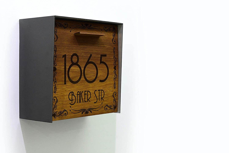 Modern Mailbox Max 46% OFF Solid Iroko Wood Metallic Ranking TOP12 Gray Aluminum Face Bo