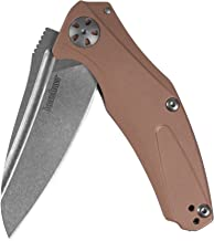 Kershaw Natrix - Copper Pocketknife (7006CU); 2.75-inch Drop-Point Blade with Stonewashed D2 Steel; Hefty Copper Handle Features Brushed Silver Hardware; Reversible, Deep-Carry Pocketclip; 3.7 oz
