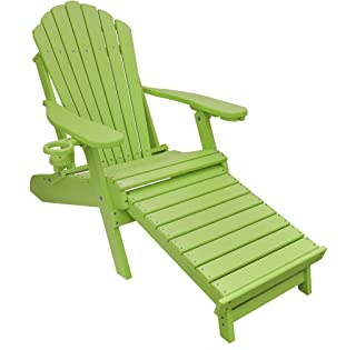 ECCB Outdoor Outer Banks Deluxe Oversized Poly Lumber Folding Adirondack Chair with Integrated Footrest (Lime) …