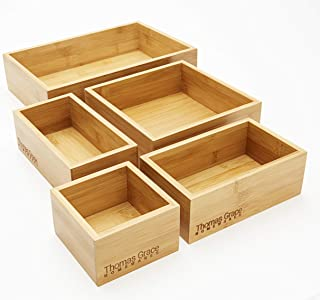 5-Piece Bamboo Storage Box & Organizer Set - Thomas Grace Homewares. Multi-Sized Set of 5 Bamboo Boxes Perfect for Kitchen, Office, Jewellery, Junk, Bath/Bedroom Drawers, or Anywhere Around The Home