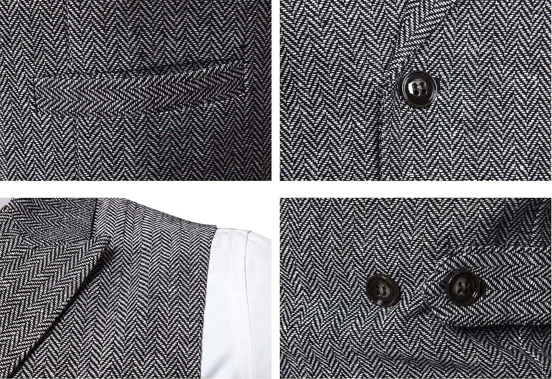Mens Classic Double Breasted Waistcoat,Herringbone Slim Fit Waistcoat,Smart Retro Tailored Vest