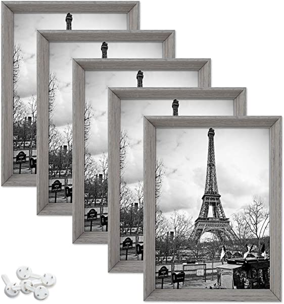 Upsimples 5x7 Picture Frames With High Definition Glass Rustic Photo Frames For Wall Or Tabletop Display Set Of 5