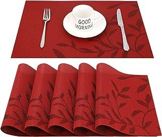 CHAOCHI Manteles Individuales Lavables Salvamantele Individuales PVC Antideslizantes Resistente al Calor Juego de 6 para la Mesa de Comedor de Cocina,Rojo