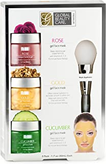 Rose, Gold, Cucumber Gel Face Mask with Applicator