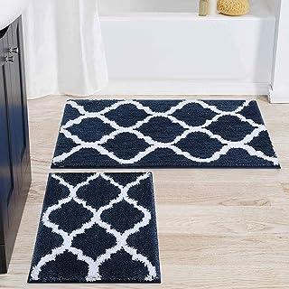 Olanly Luxury Bathroom Rug Mat Set 2 Piece, Soft and Absorbent Microfiber Bath Mats, Non-Slip Shaggy Bath Carpet, Machine ...