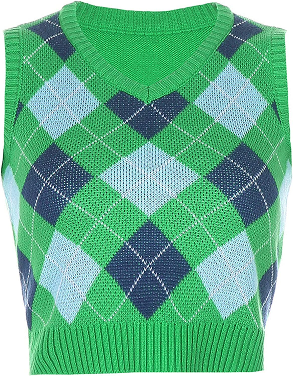 Women Plaid Knitted Sweater Vest Preppy Style Knitwear Tank Top V-Neck Sleeveless Casual Pullover Tank Tops (Green 2,Small)