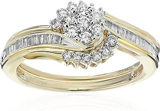 10k 黄金钻石新娘戒指