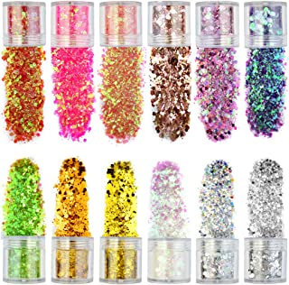 12 Boxes Holographic Body Glitters, obmwang Chunky Glitter Nail Sequins Ultra-thin Iridescent Flakes Hexagon Tips Mixed for Festival Face Makeup, Nail, Body, Hair and Other Events (12 colors)