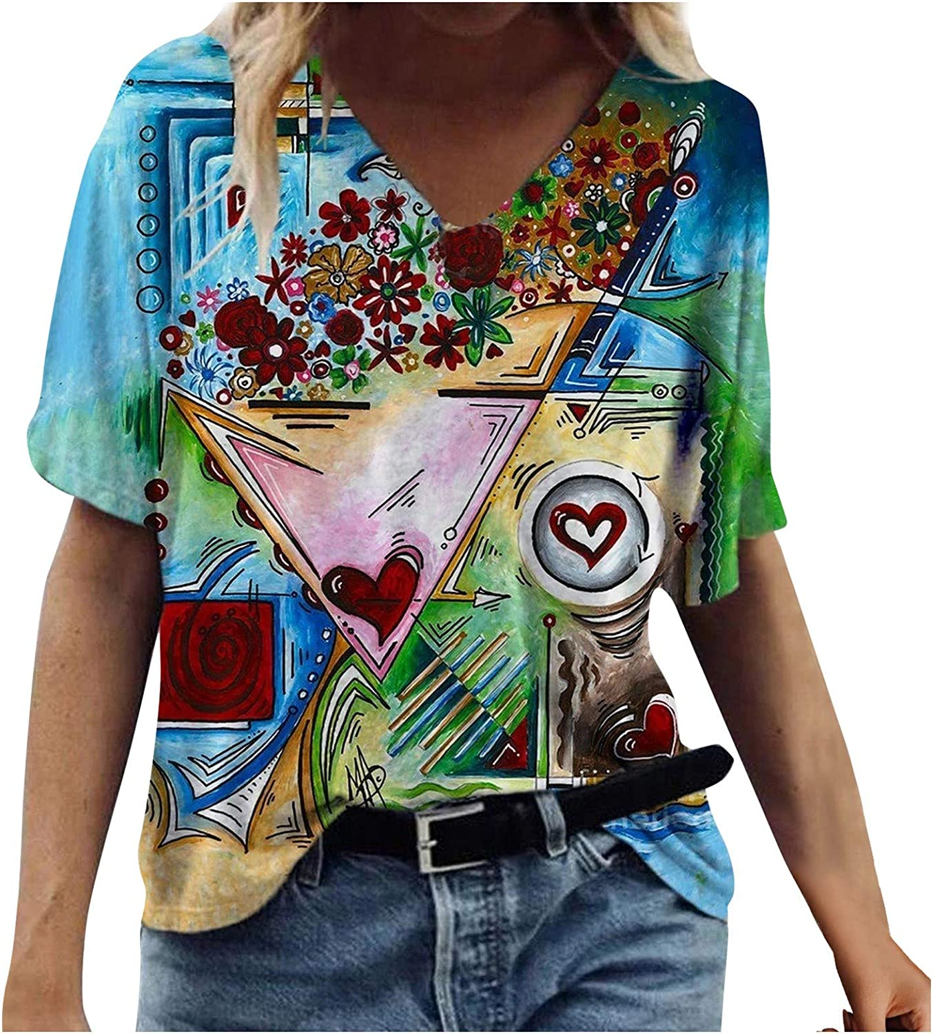 AODONG Summer Tops for Women Short Sleeve, Womens V Neck Floral Printed Casual Tees Shirt Tunics Blouses Funny Shirts