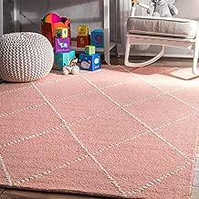 nuLOOM Dotted Diamond Trellis Wool Rug, 4' x 6', Baby Pink