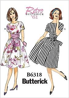 BUTTERICK PATTERNS B6318E50 Misses' Tie-Waist Dress, Size E5 (14-16-18-20-22)