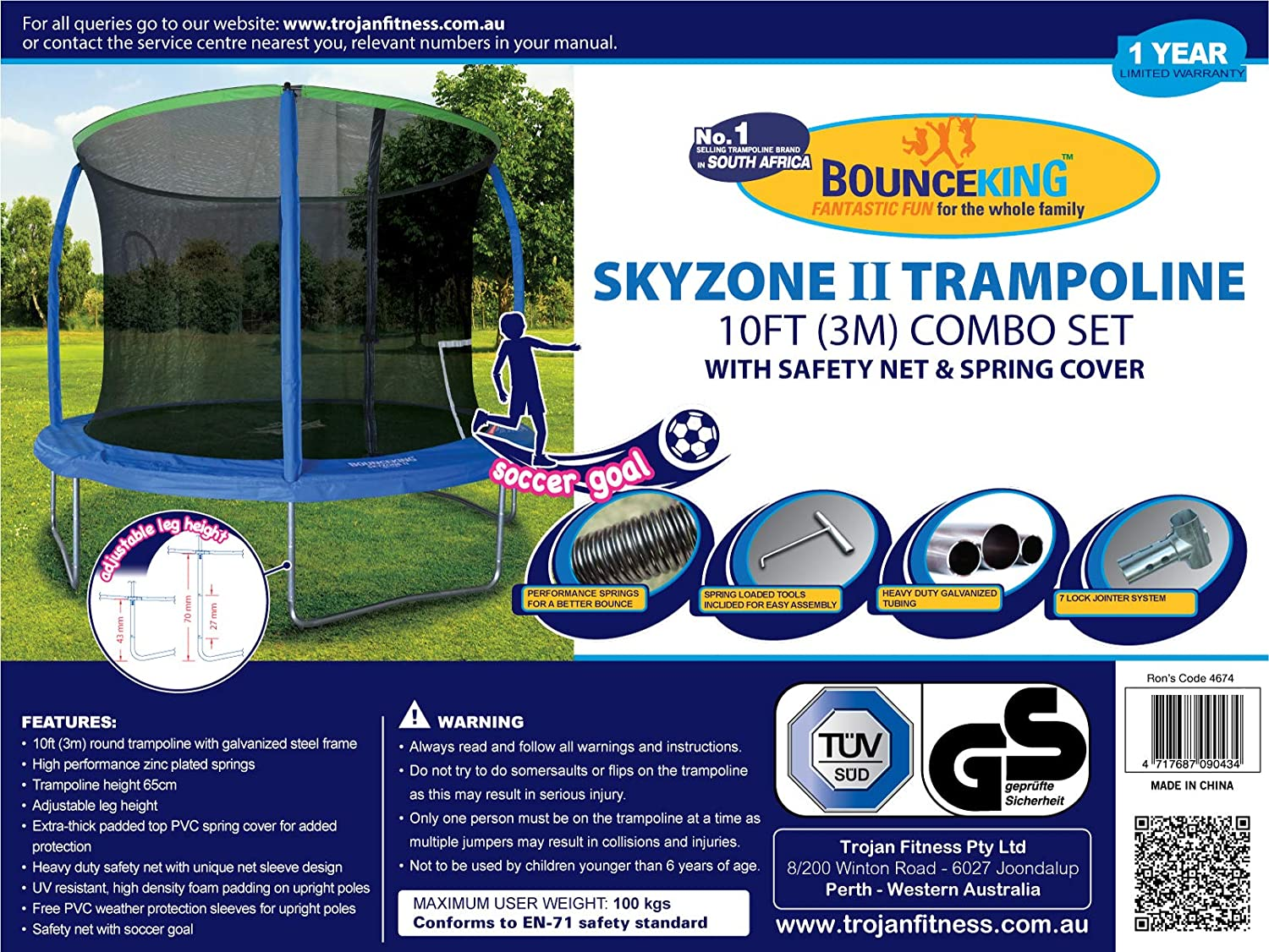 Bounceking Trampoline 10 Foot Inc Spring Cover & Safety Net Adjustable Height