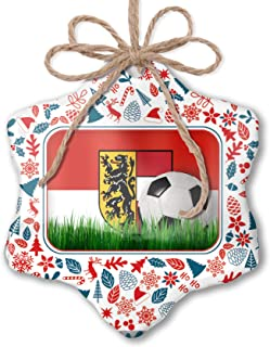 NEONBLOND Christmas Ornament Soccer Team Flag Salzburg (Service) Region Austria Red White Blue Xmas