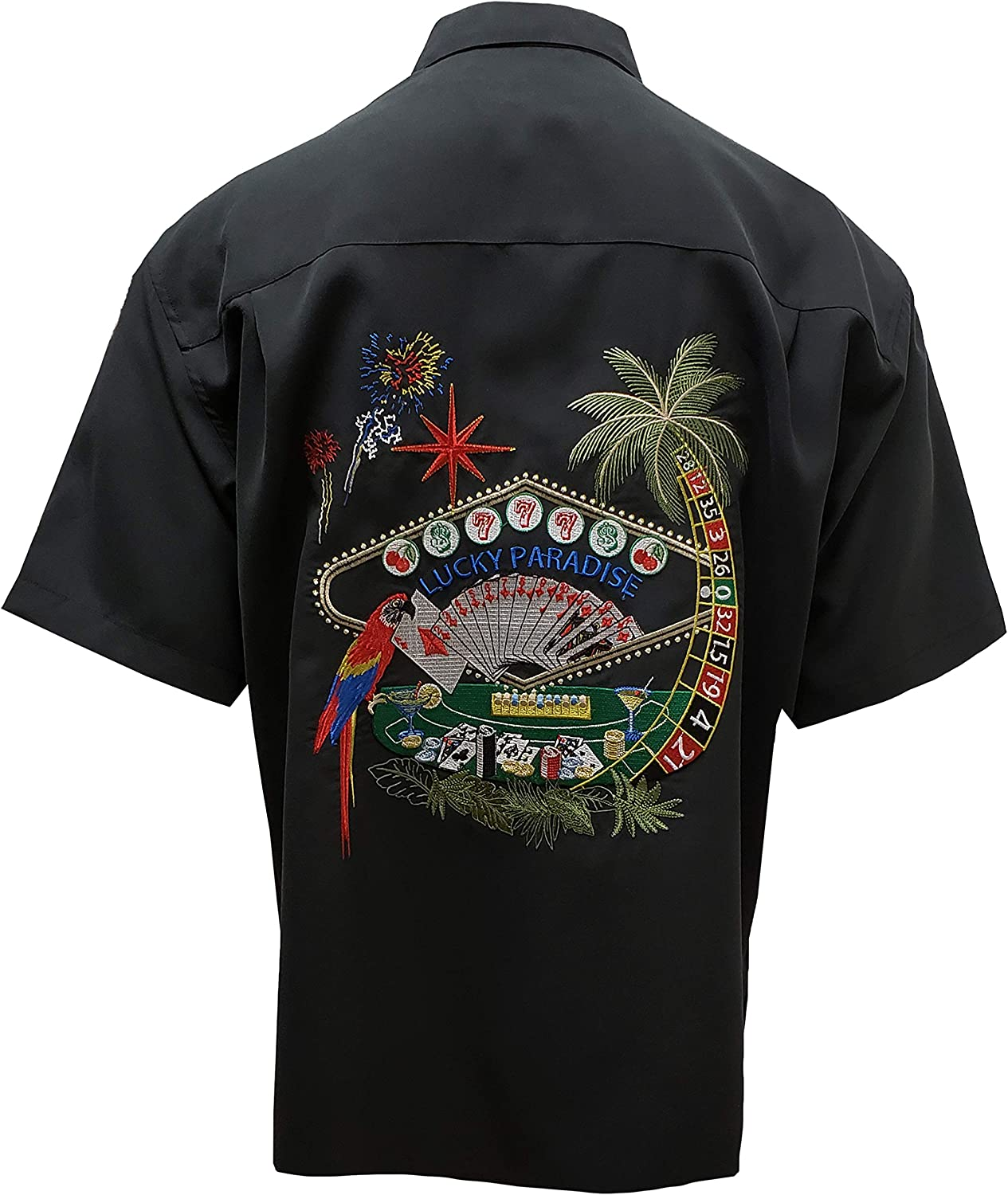 Bamboo Cay Men's Lucky Paradise Butt Casual Hawaiian Embroidered Clearance SALE! Limited time! Surprise price