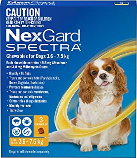 Nexgard N5836 Flea, Tick & Worming Monthly Chew, Spectra, Dog, 3.6-7.5kg, 3pk, Yellow, Small