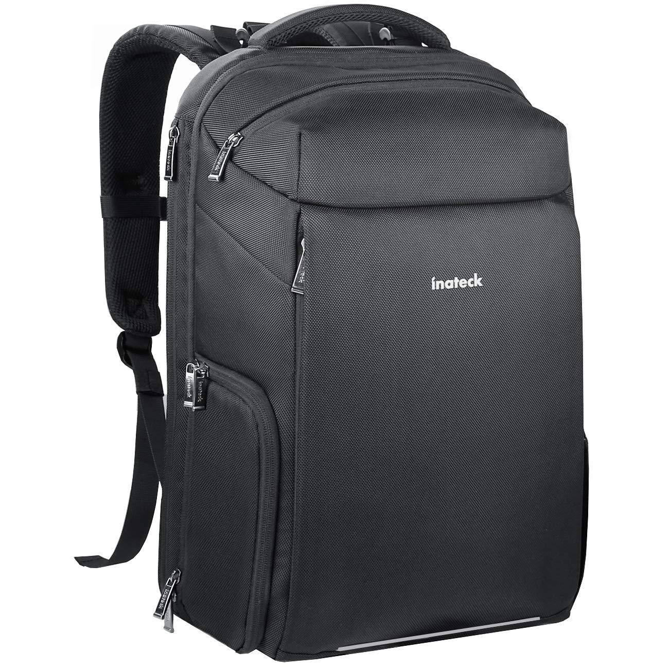 Inateck 3 in 1 DSLRカメラ/ 15.6インチノートパソコン/トラベルバックパック、多機能防水キャンバスバックパック、スーツケースデザイン、レインカバーと三脚、黒