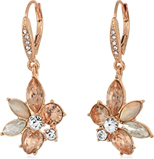 Women's Crystal Cluster Drop Earrings, Rose Gold