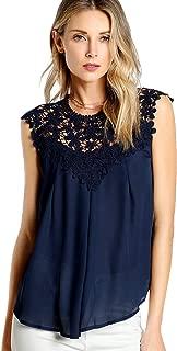 Women's Lace Neckline Sleeveless Chiffon Blouse Top