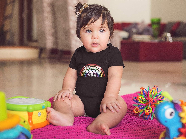 Yelo Pomelo Silently Judging You Rainbow Baby Bodysuit,