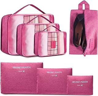 EONGOA 7 Set Packing Cubes, Travel Organizers, Travel Carry On Luggage Organizer with Laundry bag & Shoe Bag
