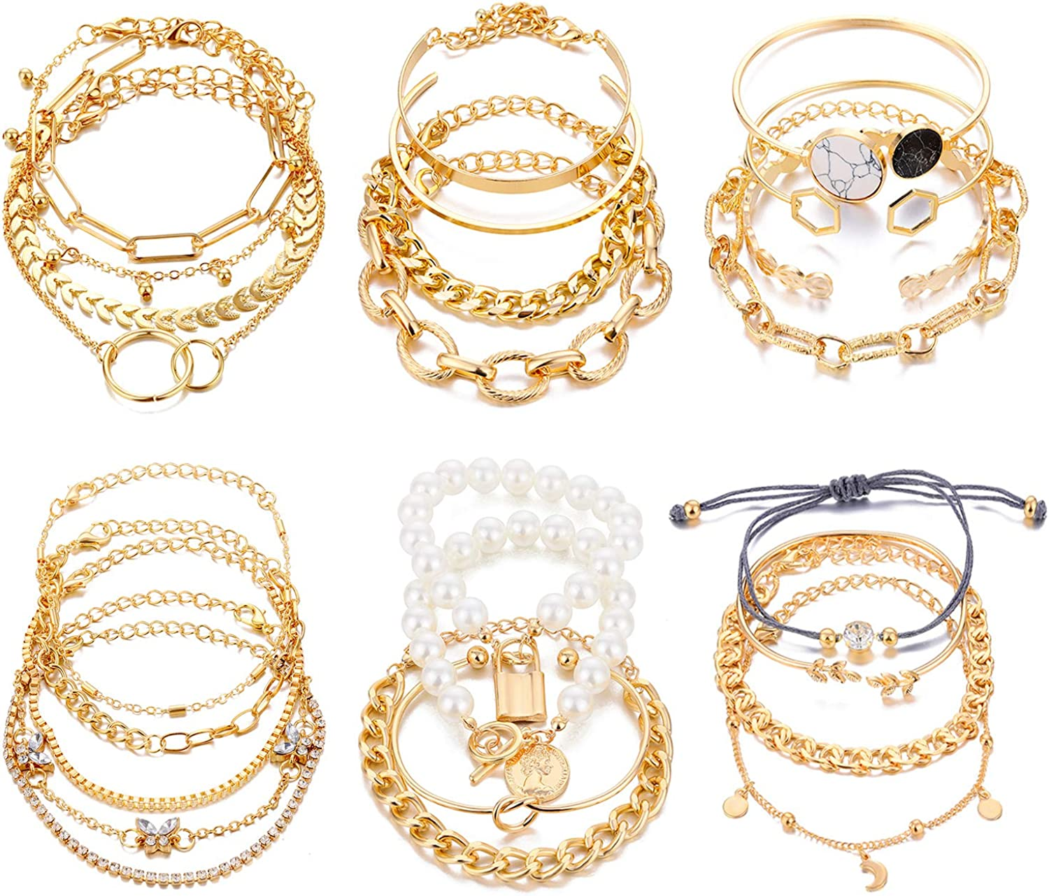 17IF 25 Pcs (6 Pack) Gold Bracelets Set for Women Girls Boho Chain Multi-layered Stackable Bangle 14K Gold Plated Mothers Day Gift Open Adjustable Cuff Italian Cuban Charm Chunky Bracelet Jewelry