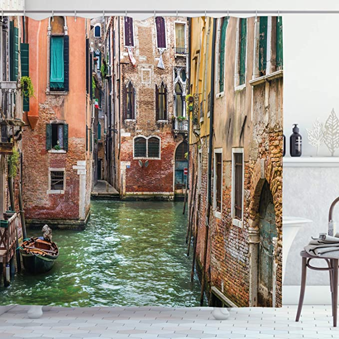Amazon Com Ambesonne Venice Shower Curtain Italian City On Water Historical Landmark Famous Streets Houses Gondolas Europe Cloth Fabric Bathroom Decor Set With Hooks 84 Long Extra Multicolor Home Kitchen