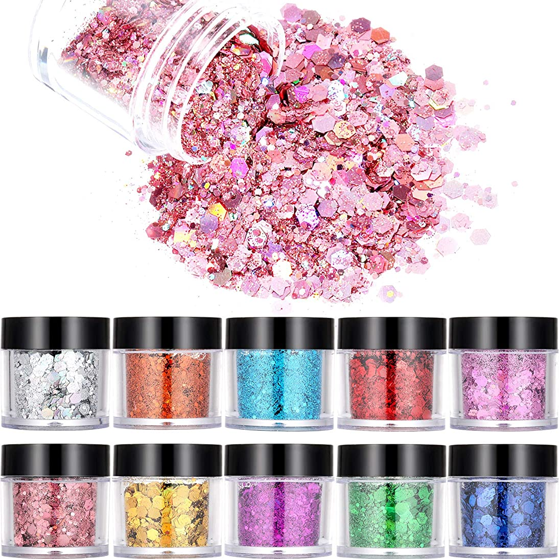 10 Boxes Nail Chunky Glitter Sequins Iridescent Flakes Cosmetic Sequins Shining Ultra-thin Tips for Face Body Hair Nails Art