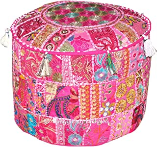 Indian Bohemian Patchwork Poef Ottoman, Vintage Indiase Poef, poef, poefs, voetkruk, Ronde Poef Ottoman, Bean Bag, Vloerku...