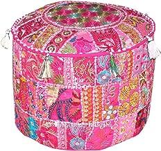 Indiase Boheemse patchwork poef, poef, poef, poef, voetenkruk, ronde poef, poef, poef, voetenbank, zitzak, vloerkussen Ott...