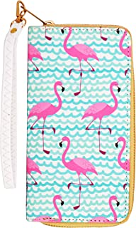 Pink Flamingo Wallet with Wristlet Strap, Tropical Fun Print Clutch w/Zipper