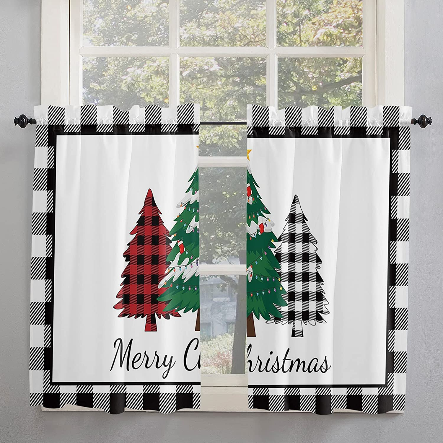Christmas Tree Department store Kitchen Curtains 45 Windows Don't miss the campaign Red for Inch Length