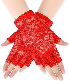 Sunblock Fingerless Bridal Lace Gloves Short Floral Gloves for Women